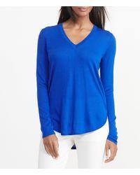 Lauren by Ralph Lauren | Blue Silk-blend V-neck Shirttail Hem Sweater | Lyst