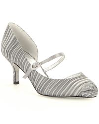 Adrianna Papell | Metallic Janet Leather Stripe Peep Toe Mary Jane Pump | Lyst