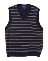 Brooks Brothers | Blue Fair Isle Striped V-neck Sweater Vest for Men | Lyst