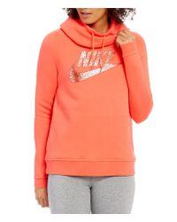 Nike | Orange Sportswear Rally Funnel-neck Hoodie | Lyst