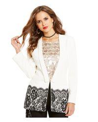 Gianni Bini | White Amelia Lace Trim Jacket | Lyst