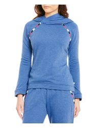 Lucky Brand | Blue Hooded Fleece Lounge Top | Lyst