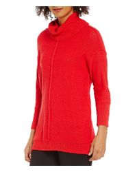 Vince Camuto | Red Two By Exposed Seam Cowlneck Sweater | Lyst