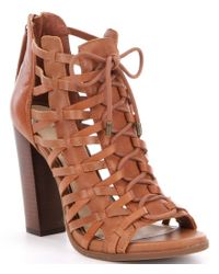 Jessica Simpson   Brown Riana Leather Caged Peep-toe Lace-up Booties   Lyst
