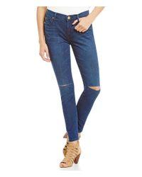 True Religion - Blue Halle Ankle Knee-slit Super Skinny Jeans - Lyst