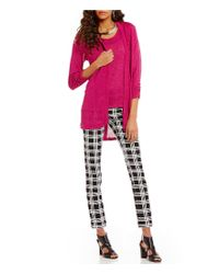 Jones New York | Pink Hi-low Side Slit Textured Knit Open Front Long Cardigan | Lyst