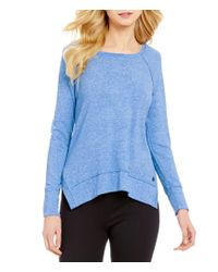 Calvin Klein | Blue Performance Marled Haci Knit Jersey Raglan Shoulder Top | Lyst