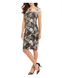 David Meister | Black Jewel Neck Short Sleeve Embroidered Lace Sheath Dress | Lyst