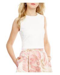 Eliza J | White Jewel Neck Sleeveless Scuba Crop Top | Lyst