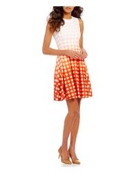Calvin Klein | Orange Round Neck Sleeveless Geo Ombre Scuba Fit-and-flare Dress | Lyst