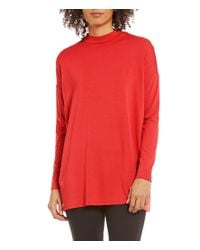 Eileen Fisher | Red Lightweight Viscose Jersey Mock Neck Tunic | Lyst