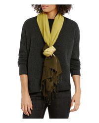 Eileen Fisher | Black Wool Silk Ombre Scarf | Lyst