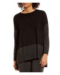 Eileen Fisher | Black Round Neck Lightweight Cozy Viscose Stretch Knit Tunic | Lyst