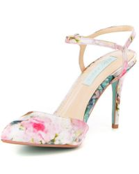 Betsey Johnson   Pink Anina Floral Satin Pointed Toe Ankle Strap Pumps   Lyst