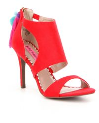 Betsey Johnson   Red Ryan Tasseled Pom Pom Dress Sandals   Lyst
