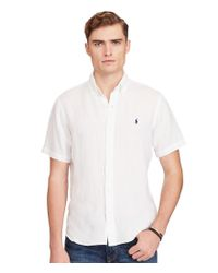Polo Ralph Lauren | White Short-sleeve Linen Solid Woven Shirt for Men | Lyst