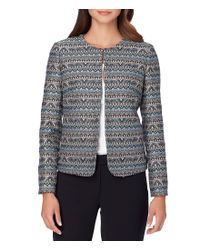 Tahari | Multicolor Petite Long Sleeve Open Front Striped Jacquard Jacket | Lyst