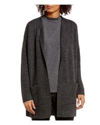 Eileen Fisher | Gray Petites Sleek Tencel Merino Blur Shaped Cardigan | Lyst