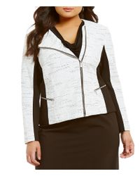 Calvin Klein | White Plus Tweed Long Sleeve Asymmetrical Zip Jacket | Lyst