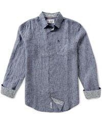 Original Penguin | Blue Linen Long-sleeve Solid Woven Shirt for Men | Lyst