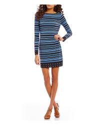 MICHAEL Michael Kors | Blue Long Sleeve Stripe Print Matte Jersey Sheath Dress | Lyst