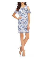 French Connection | Blue Antonia Lace Cold-shoulder Short Sleeve Sheath Dress | Lyst