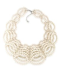 Carolee | Metallic 21 Club Faux-pearl Collar Necklace | Lyst