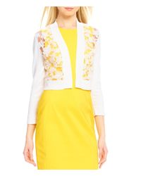 Calvin Klein | White Crew Neck 3/4 Sleeve Lace Front Cardigan | Lyst