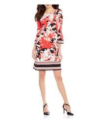Calvin Klein | Red Matte Jersey Scoop Neck 3/4 Sleeve Print Mix Shift Dress | Lyst