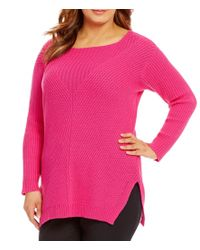 Vince Camuto | Pink Plus Long Sleeve Ribbed V-textured Sweater | Lyst