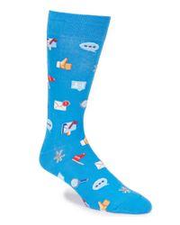 Hot Sox | Blue Social Media Emoji Crew Socks | Lyst