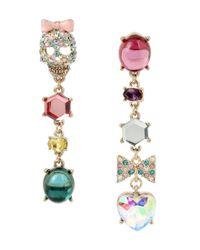 Betsey Johnson | Multicolor Pavé Skull, Bow & Heart Mismatched Linear Drop Statement Earrings | Lyst
