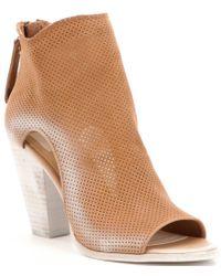 Dolce Vita - Brown Harem Perforated Leather Peep Toe Block Heel Booties - Lyst