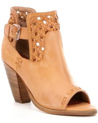 Naughty Monkey | Brown Tejer Leather Peep Toe Woven Detail Buckle Strap Booties | Lyst