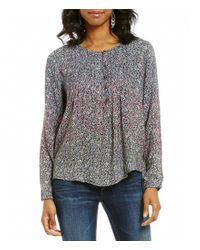 Lucky Brand   Multicolor Round Neck Long Sleeve Floral Print Peasant Blouse   Lyst