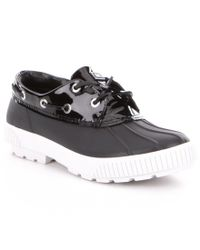 MICHAEL Michael Kors | Black Hyde Rubber Patent Leather Lace-up Duck Shoes | Lyst