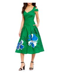 Kay Unger | Green Cold Shoulder Hand Painted Floral Midi Dress | Lyst