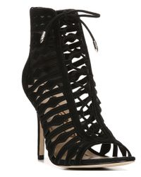 Sam Edelman | Black Amelia Suede Lace-up Open Toe Booties | Lyst