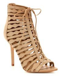 Sam Edelman | Natural Amelia Suede Lace-up Open Toe Booties | Lyst