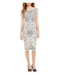 Adrianna Papell | Black Cap Sleeve Flower Beaded Dress | Lyst