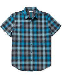 Calvin Klein | Blue Shadow Plaid Short-sleeve Woven Shirt for Men | Lyst