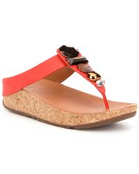Fitflop | Multicolor Jeweley Leather Chunky Stone Detail Slip On Thong Sandals | Lyst