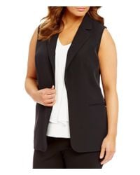 Calvin Klein | Black Plus Notch Lapel Open Front Solid Vest | Lyst