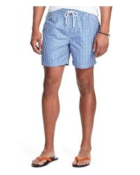 Polo Ralph Lauren | Blue Traveler Gingham Swim Trunks for Men | Lyst