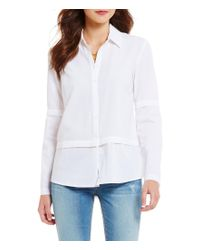 Guess | White Annalisa Twofer Point Collar Long Sleeve Button-front Crepe Top | Lyst