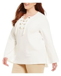 Vince Camuto   White Plus Bell Sleeve Lace Up Ponte Blouse   Lyst