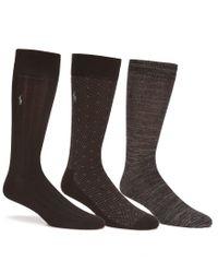 Polo Ralph Lauren | Black Super Soft Diamond Dot Crew Dress Socks 3-pack for Men | Lyst