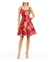 Nicole Miller Red Floral-print Mikado Party Dress