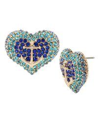 Betsey Johnson | Blue Pavé Anchor Heart Stud Earrings | Lyst