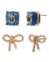 Betsey Johnson | Metallic Anchor Stone & Rope Bow Stud Earring Set | Lyst